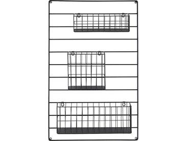 Wandregal mit Körbe - schwarz - 50 cm - 80 cm - 13,5 cm - Möbel-Kraft