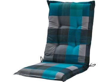 GO-DE Mittellehnerauflage - blau - Druckstoff, 50% Baumwolle, 50% Polyester - 50 cm - 7 cm - Möbel-Kraft