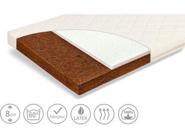 Zöllner Kindermatratze  Natur - weiß - Kern: 100% Naturlatex und latexiertem Kokos , Bezug: 100% Baumwolle - 70 cm - 8 cm - Möbel-Kraft