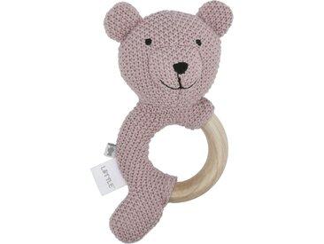 Holzrassel - rosa/pink - Füllung aus 100% Polyester, Ring aus Massivholz (Guga Baum) und Bezug aus 100% Baumwolle (gehäkelt) - 10 cm - 19 cm - 3 cm - Möbel-Kraft