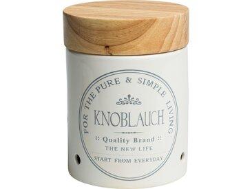KHG Aufbewahrungsdose  Knoblauch - weiß - Steinzeug/Steingut, Holz - Möbel-Kraft