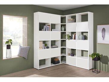 Eckregal konfigurierbar 5x6-P BOON L | 166/166x218x33 cm | weiß