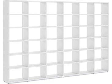 Regalwand konfigurierbar 6x6 BOON L | 345x218x33 cm (LxHxT) | weiß