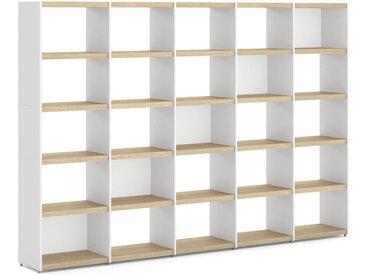 Individualisierbares Regalsystem YOMO 5x5 | 280x189x35 cm (LxHxT) | eiche/weiß