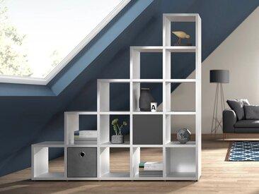 Individualisierbares Stufenregal 5x5 BOON | 181x183x33 cm (LxHxT) | weiß