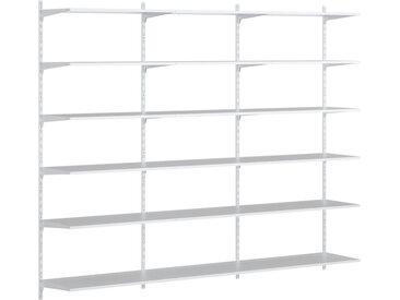 Individualisierbares Wandregalsystem P-SLOT S-301 | 243x200x42 cm (LxHxT) | weiß