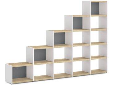 Stufenregal YOMO 5x5 Stufenregal | 280x189x35 cm (LxHxT) | eiche/weiß/stone