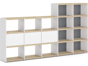 Individualiserbares Regalsystem YOMO 5x4-P   280x152x35 cm (LxHxT)   eiche/weiß/stone