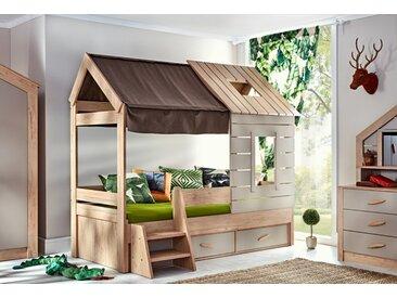 """Hausbett 90x200 """"Forester's Hut"""" mit Fenstern + Schubladen"""