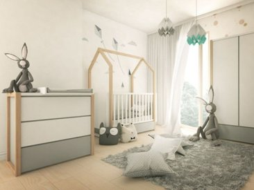 Babyzimmer komplett 4-teilig Kinderzimmer Holz Dinky Castle