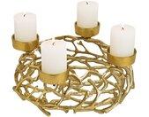 Kerzenhalter »Adventskranz Metall Gerippe & 4 Kerzenhalter Alu Ø 38 cm«, goldfarben, gold