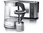 Küchenorganizer-Set, (Set, 2-tlg), Frühstücks Set in Edelstahloptik Wasserkocher (mit Teesieb) & Toaster, silberfarben