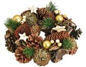 Adventskranz »Weihnachtlicher Türkranz Weihnachtskranz 25 cm goldfarben dekoriert«
