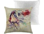 Kissenhüllen »1 Kissenhülle Pferd Kissenbezug Pferdemotive Dekokissen Leinenstruktur mit/ohne Füllkissen«, Pferd 1 mit Füllkissen, bunt, 60 % Baumwolle