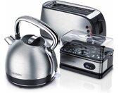 Küchenorganizer-Set, (Set, 3-tlg), Frühstücks Set in Edelstahl Design - Toaster / Wasserkocher / Eierkocher, silberfarben