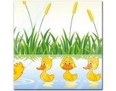 Glasbild, Kinderbild Entenfamilie, bunt