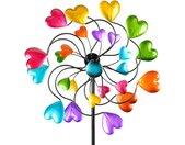 Gartenfigur »Buntes Windrad Herzen für den Garten aus Metall Windspiel Windmühle 126 cm«, bunt