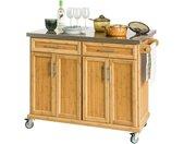 Küchenwagen »FKW69/FKW70«, Küchenschrank Kücheninsel mit erweiterbarer Edelstahlarbeitsplatte, beige, Schubladen: 2 St.