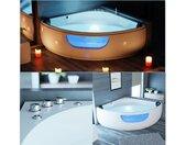 Whirlpool-Badewanne » Eckbadewanne mit Whirlpool PAROS 150x150cm mit Sitz Acrylwanne für zwei Personen, Eck-Badewanne mit Armatur, freistehend und vormontiert Indoor Whirlpoolbadewanne mit LED«, Premium LX Whirlpoolpumpe