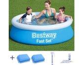 Quick-Up Pool »BESTWAY Fast Set Kinder Pool 183x51cm + Schutzmatte + Thermometer + Wassertester«, blau