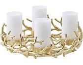 Adventskranz »Porus«, (42 cm) Kerzenhalter für Stumpenkerzen, Weihnachtsdeko für 4 Kerzen á Ø 8 cm, Kerzenkranz als Tischdeko mit Gold-Optik