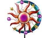 Gartenfigur »Buntes Windrad Sonne Mond und Sterne für den Garten aus Metall Windspiel Windmühle 124 cm«, bunt
