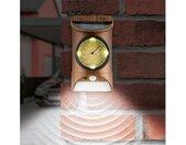 Gartenleuchte, Solar-Leuchte mit Bewegungsmelder & Thermometer Holzoptik, braun