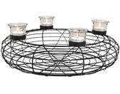 Kerzenhalter »Adventskranz mit 4 Teelichtgläsern schwarz Metall Ø 40 cm«, schwarz