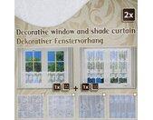 Scheibengardine »2 Stück Scheibengardine Kurzgardine Gardine kurz Bistro Küche Fertiggardine weiß Spitze oben und unten Vorhang modern Fenstergardine transparent Muster«