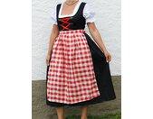 Kostüm »Dirndl lang mit Bluse und rot - weiß karierter Schürze - Oktoberfest - Tracht«