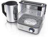 Küchenorganizer-Set, (Set, 3-tlg), Frühstücks-Set in silber - Wasserkocher / Toaster / Eierkocher, silberfarben