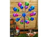 Gartenfigur »Buntes Windrad Punkte für den Garten aus Metall Windspiel Windmühle 126 cm«, bunt