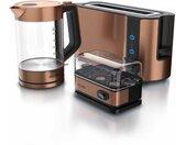 Küchenorganizer-Set, (Set, 3-tlg), Frühstücks-Set in Kupfer Optik - Wasserkocher / Toaster / Eierkocher, beige