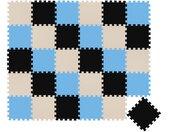 Puzzlematte »30 Teile Baby Kinder Puzzlematte ab Null - 30x30cm«, Puzzleteile, Schwarz Beige Hellblau, bunt