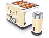 Küchenorganizer-Set, (Set, 2-tlg), Frühstücks-Set im Retro Style - 4-Scheiben Toaster & Milchaufschäumer in Beige, beige