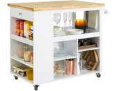 Küchenwagen »FKW97«, Design Kücheninsel mit Klappe Küchenschrank mit Regalfächern Rollwagen Sideboard auf Rollen Küchentrolle, weiß