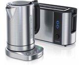 Küchenorganizer-Set, (Set, 2-tlg), Frühstücks-Set in Edelstahl Design - Wasserkocher mit Temperaturauswahl & Toaster, silberfarben