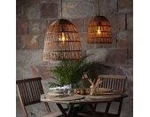Hängeleuchten »Lampenschirm KNUTE wetterfest für E27 Fassungen natur braun D: 48cm H: 50cm«