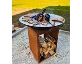 Feuerstelle » Feuerschale Lindau mit Feuerplatte Ø 80 cm vorbewittert in Rostoptik, Feuertonne mit Grillplatte, Plancha Platte, Grilltonne mit Feuerplatte Ø 85cm