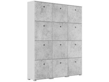 Schuhschrank XXXL Comfort 12 Klappen 48 Paar 160x187 cm Weiss-Beton