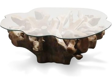 Couchtisch Omero, mit Glas, Teakwurzel,
