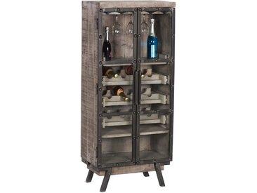 Weinschrank Finley, Mango Holz, braun, ca. 60x140x38 cm