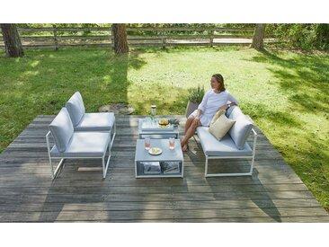 Gartenmöbelset Linette - grau/weiß - inkl. Kissen