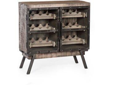 Weinschrank Finley, Mango Holz, braun, ca. 90x93x40 cm