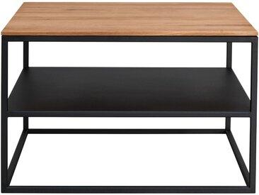 Couchtisch Gatt 3, Metall Schwarz, Platte Wildeiche massiv, geölt, ca. 65x42x65 cm