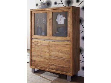 "Highboard 103x148cm ""Bahrain"" Sheesham & Metall"