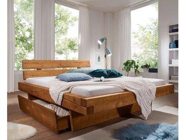 Balkenbett mit Bettkästen 'Melissa' 160x200cm Fichte gebeizt