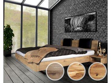Massivholz »Dolce Vita IV« Wildeiche Bett 200x200 cm / Wildeiche natur / mit Kissen