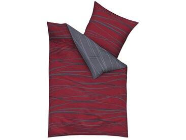 Kaeppel Wendebettwäsche »Motion«, mit feinen Wellenlinien, rot, 1 St. x 200 cm x 200 cm, Mako-Satin, 3 tlg., rubin