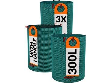 Praknu Gartenbox »3er Gartensack ohne Deckel 300l« (3 Stück), 300L - 4 Reißfeste Griffe - Robustes Polypropylen